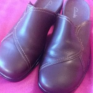 Clark Brown leather slip on shoes